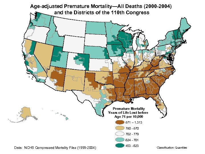 Age-adjusted Premature Mortality—All Deaths (2000 -2004) and the Districts of the 110 th Congress