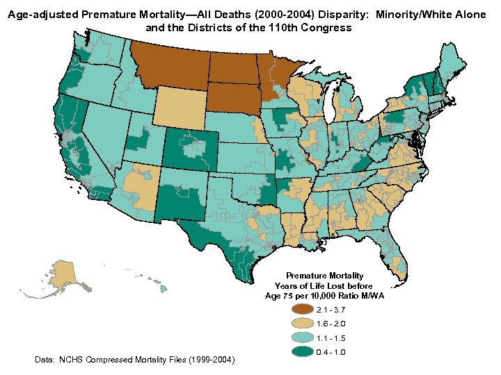 Age-adjusted Premature Mortality—All Deaths (2000 -2004) Disparity: Minority/White Alone and the Districts of the