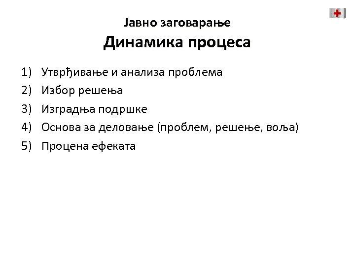 Јавно заговарање Динамика процеса 1) 2) 3) 4) 5) Утврђивање и анализа проблема Избор