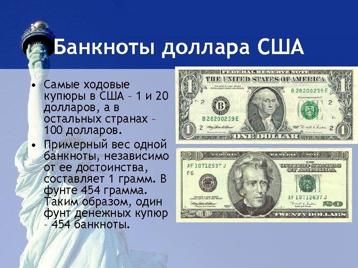 Банкноты доллара США • Самые ходовые купюры в США – 1 и 20 долларов,