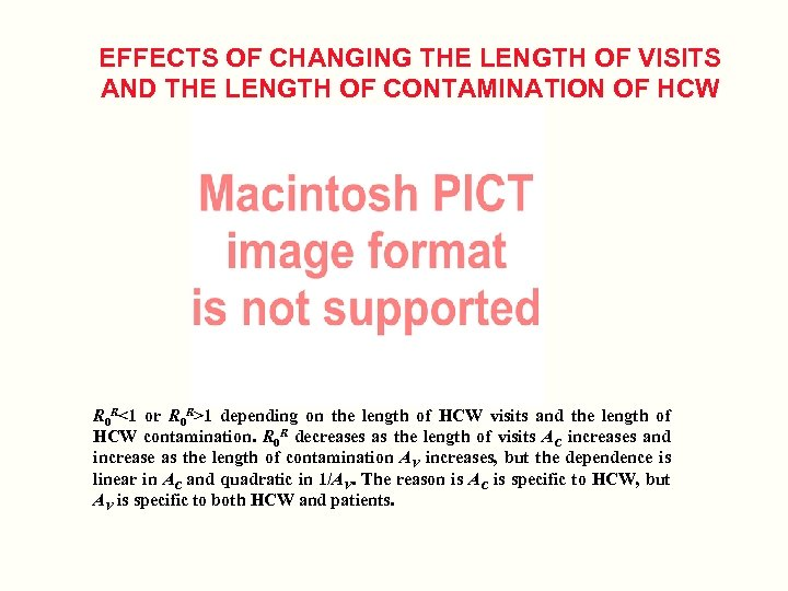 EFFECTS OF CHANGING THE LENGTH OF VISITS AND THE LENGTH OF CONTAMINATION OF HCW