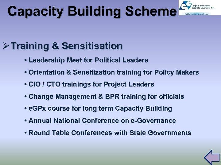 Capacity Building Scheme Ø Training & Sensitisation • Leadership Meet for Political Leaders •