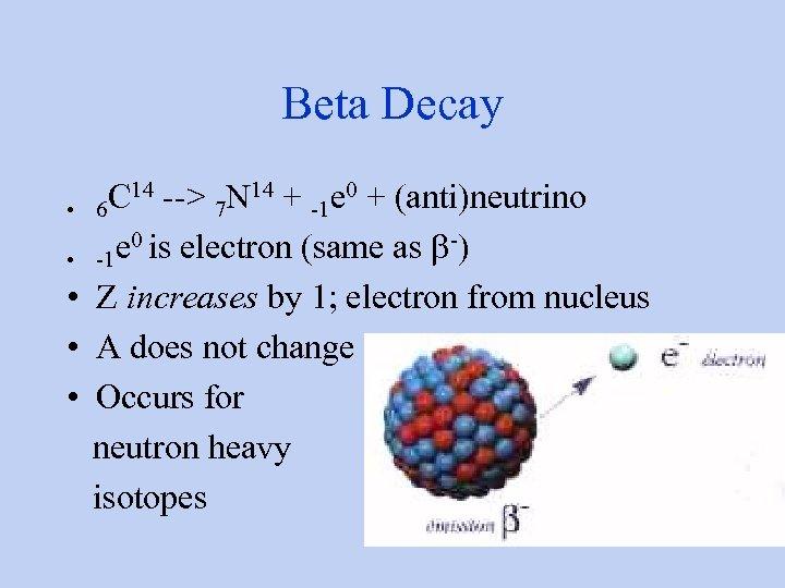 Beta Decay C 14 --> 7 N 14 + -1 e 0 + (anti)neutrino