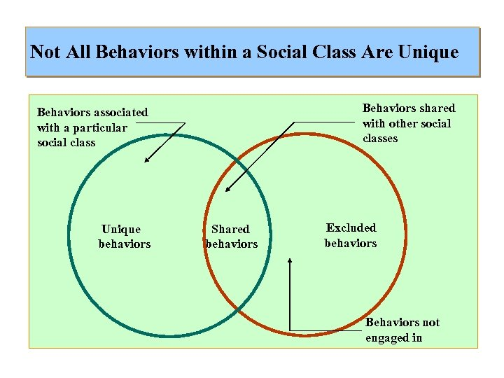 Not All Behaviors within a Social Class Are Unique Behaviors shared with other social
