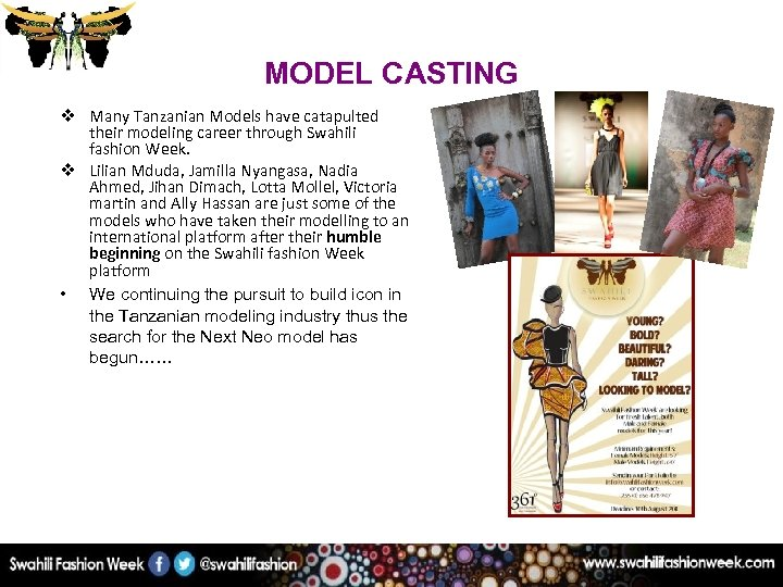 MODEL CASTING v Many Tanzanian Models have catapulted their modeling career through Swahili fashion