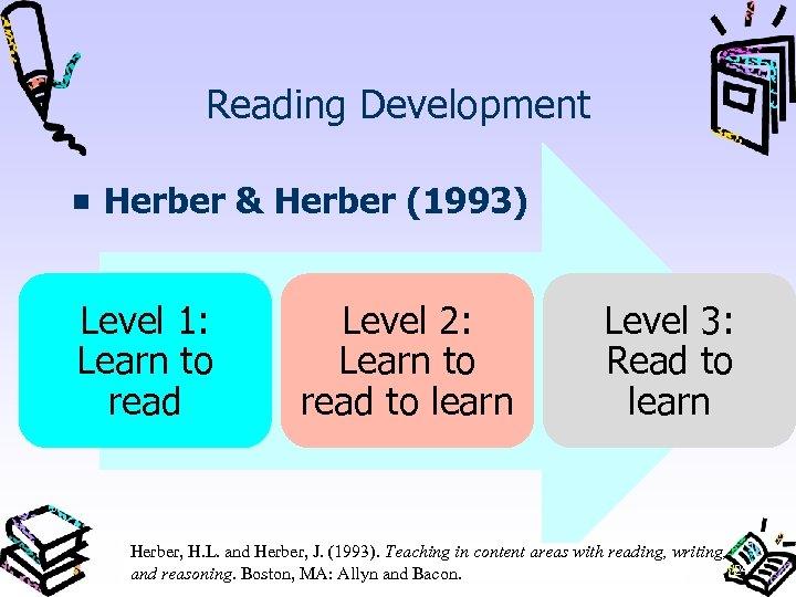 Reading Development Herber & Herber (1993) Level 1: Learn to read Level 2: Learn