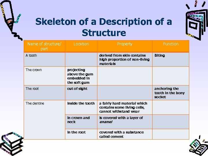 Skeleton of a Description of a Structure Name of structure/ part Location A tooth