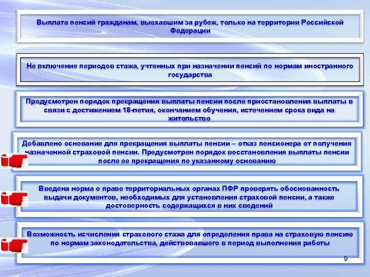 Выплата пенсий гражданам, выехавшим за рубеж, только на территории Российской Федерации Не включение периодов