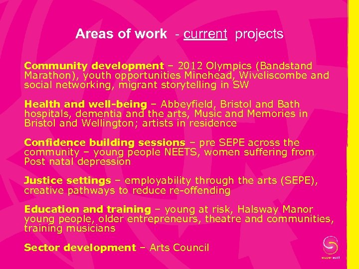Areas of work - current projects Community development – 2012 Olympics (Bandstand Marathon), youth