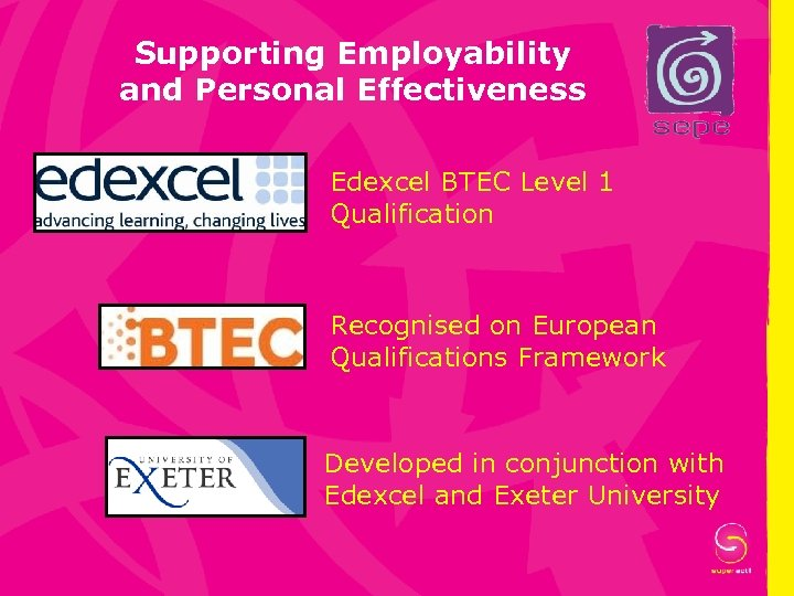 Supporting Employability and Personal Effectiveness Edexcel BTEC Level 1 Qualification Recognised on European Qualifications