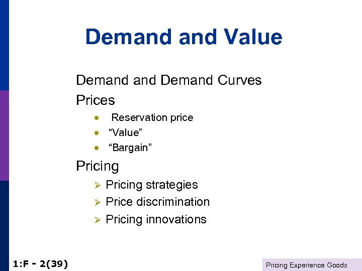 "Demand Value Demand Curves Prices · Reservation price · ""Value"" · ""Bargain"" Pricing Ø"