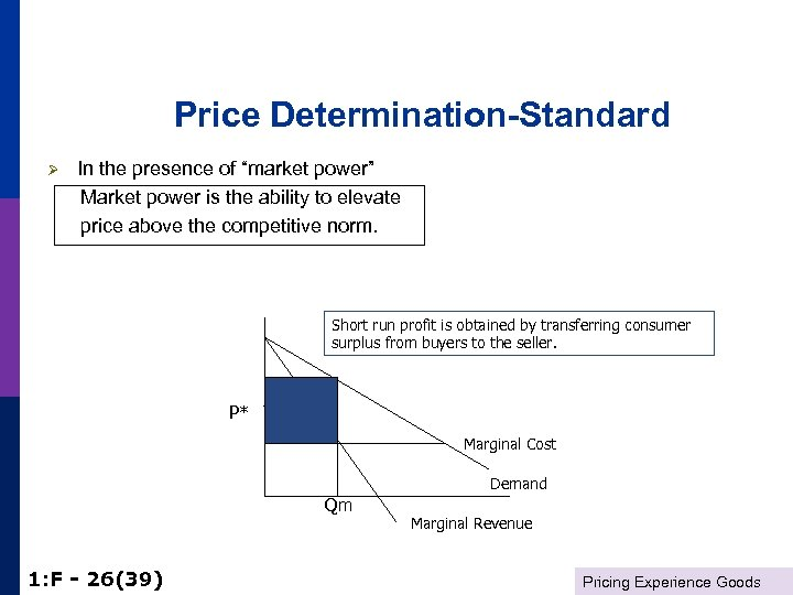 """Price Determination-Standard Ø In the presence of """"market power"""" Market power is the ability"""