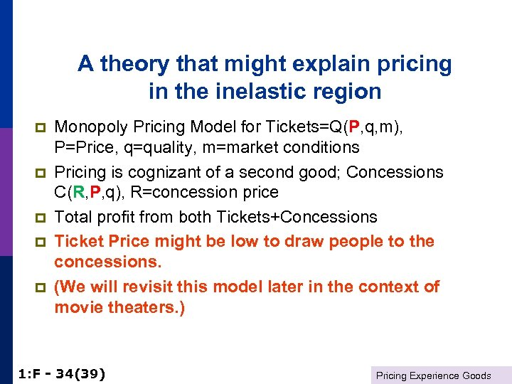 A theory that might explain pricing in the inelastic region p p p Monopoly