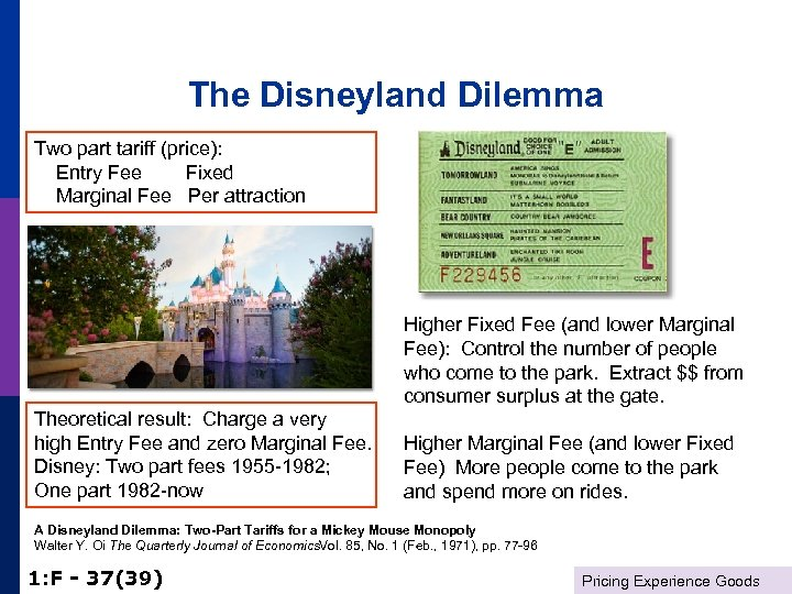The Disneyland Dilemma Two part tariff (price): Entry Fee Fixed Marginal Fee Per attraction