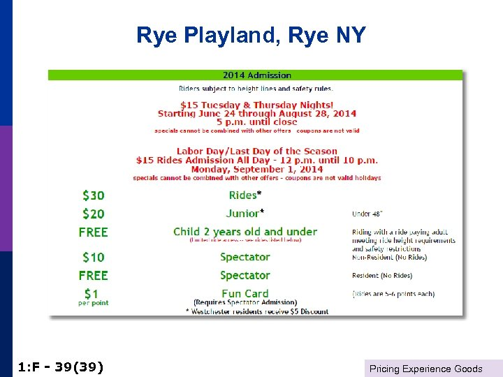 Rye Playland, Rye NY 1: F - 39(39) Pricing Experience Goods