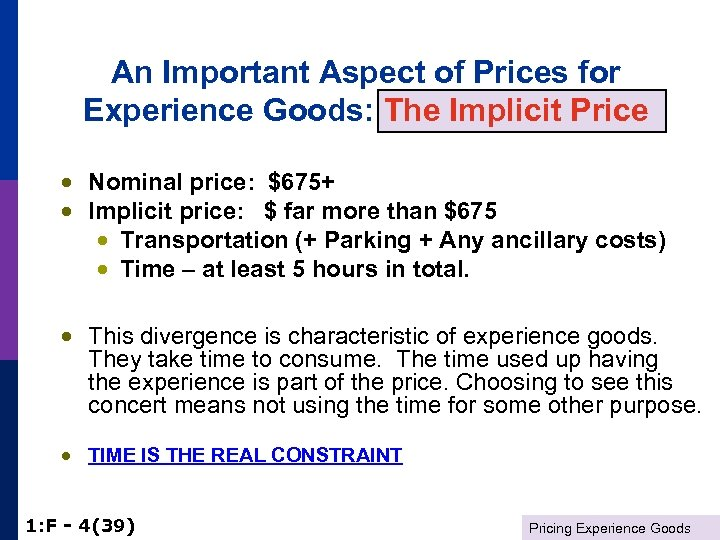 An Important Aspect of Prices for Experience Goods: The Implicit Price · Nominal price:
