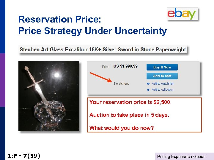 Reservation Price: Price Strategy Under Uncertainty Your reservation price is $2, 500. Auction to