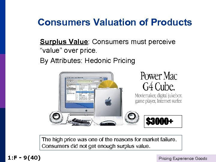"""Consumers Valuation of Products Surplus Value: Consumers must perceive """"value"""" over price. By Attributes:"""