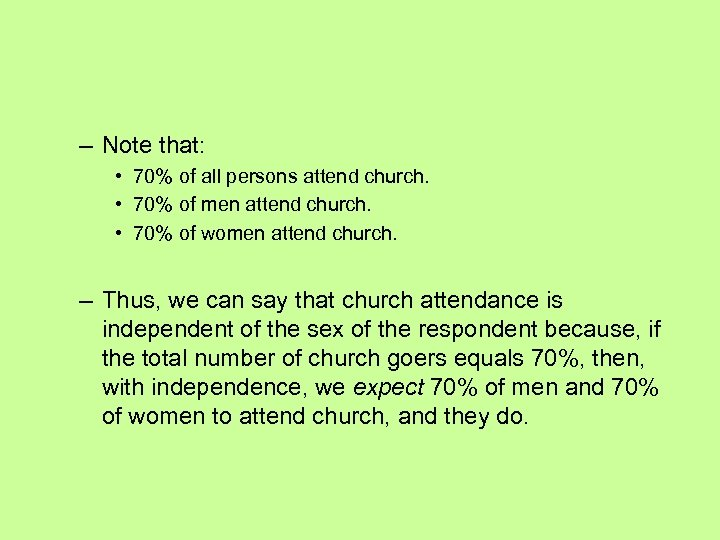 – Note that: • 70% of all persons attend church. • 70% of men