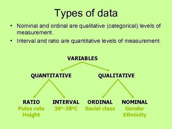 Types of data • Nominal and ordinal are qualitative (categorical) levels of measurement. •