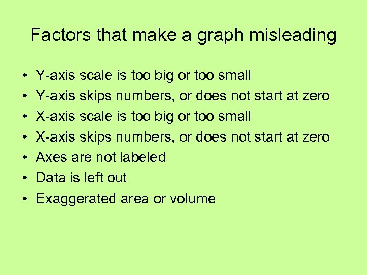 Factors that make a graph misleading • • Y-axis scale is too big or