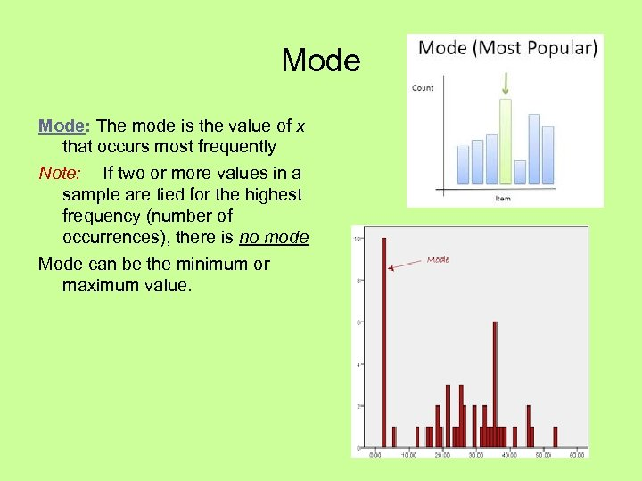 Mode: The mode is the value of x that occurs most frequently Note: If
