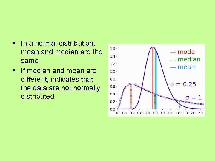 • In a normal distribution, mean and median are the same • If