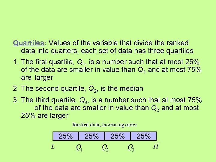 Quartiles: Values of the variable that divide the ranked data into quarters; each set