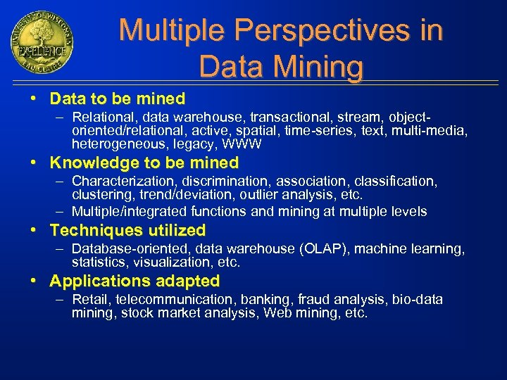 Multiple Perspectives in Data Mining • Data to be mined – Relational, data warehouse,
