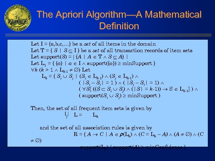 The Apriori Algorithm—A Mathematical Definition Let I = {a, b, c, …} be a