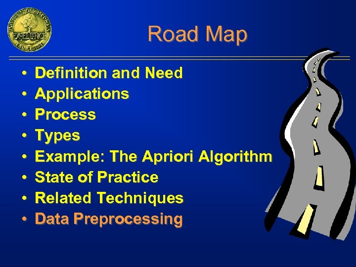 Road Map • • Definition and Need Applications Process Types Example: The Apriori Algorithm