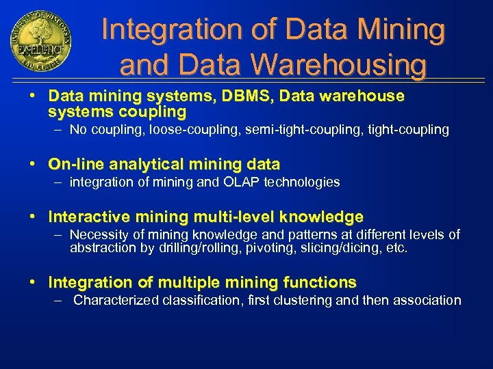 Integration of Data Mining and Data Warehousing • Data mining systems, DBMS, Data warehouse