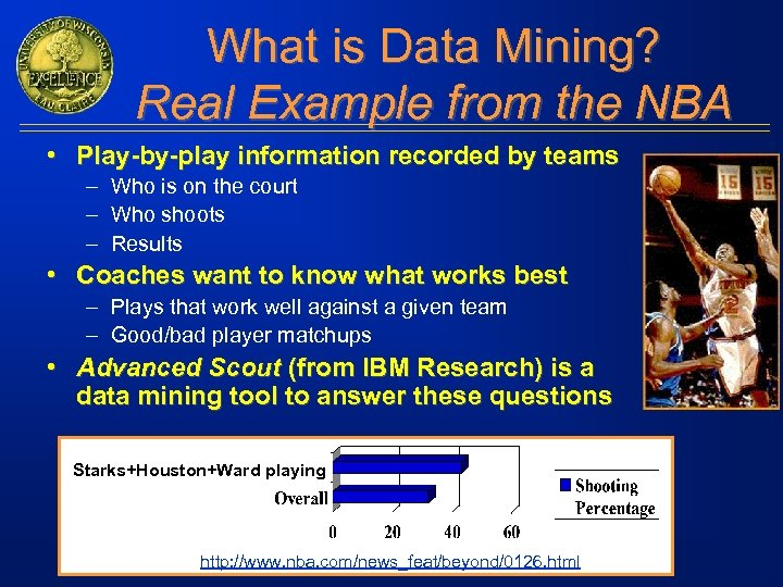 What is Data Mining? Real Example from the NBA • Play-by-play information recorded by