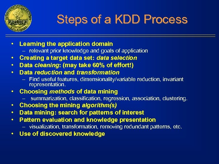Steps of a KDD Process • Learning the application domain – relevant prior knowledge