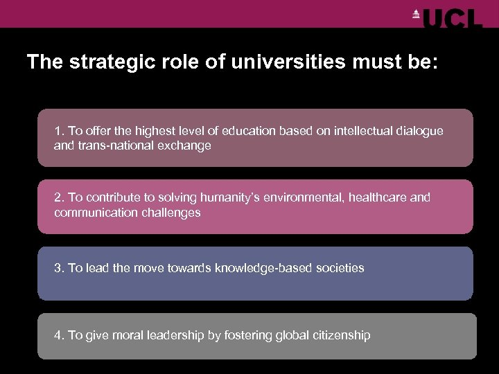 The strategic role of universities must be: 1. To offer the highest level of