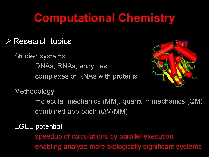 Computational Chemistry Ø Research topics Studied systems DNAs, RNAs, enzymes complexes of RNAs with
