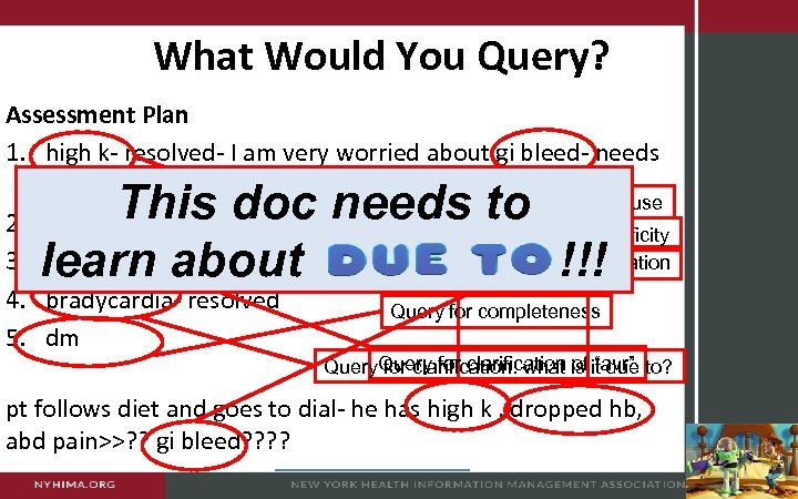 What Would You Query? Assessment Plan 1. high k- resolved- I am very worried