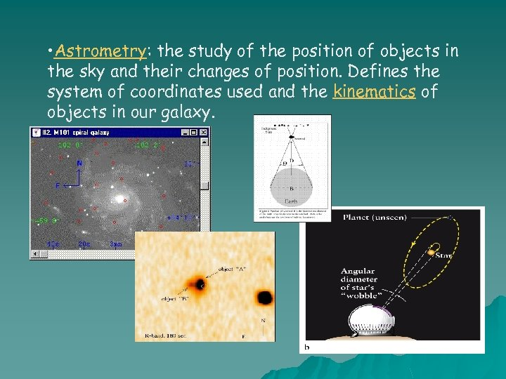 • Astrometry: the study of the position of objects in the sky and