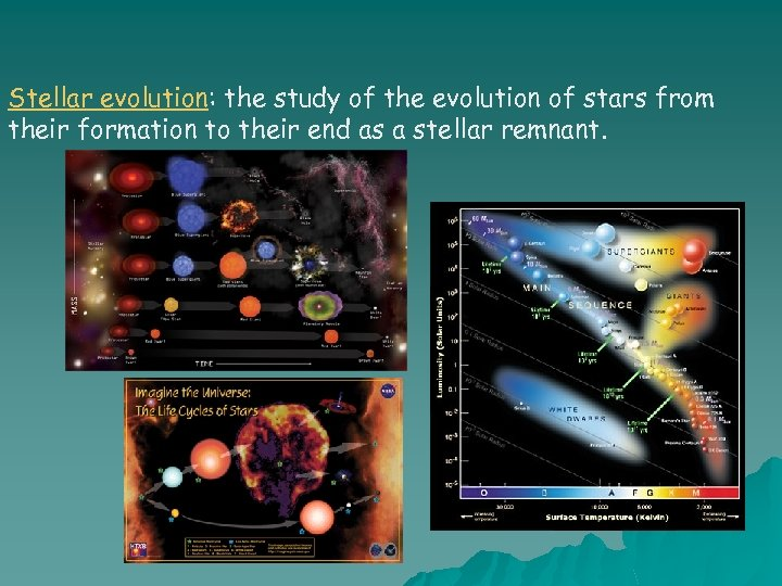Stellar evolution: the study of the evolution of stars from their formation to their