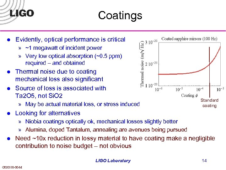 Coatings l Evidently, optical performance is critical » ~1 megawatt of incident power »