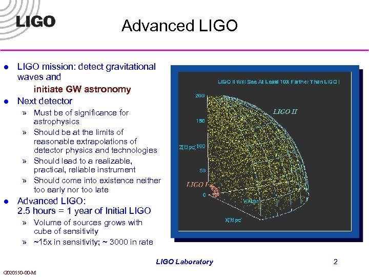 Advanced LIGO l l LIGO mission: detect gravitational waves and initiate GW astronomy Next