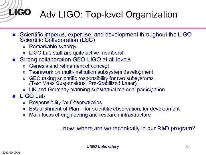 Adv LIGO: Top-level Organization l Scientific impetus, expertise, and development throughout the LIGO Scientific