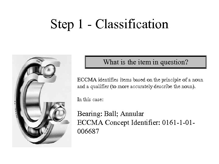 Step 1 - Classification What is the item in question? ECCMA identifies items based