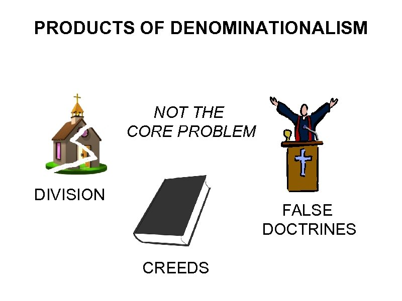 PRODUCTS OF DENOMINATIONALISM NOT THE CORE PROBLEM DIVISION FALSE DOCTRINES CREEDS