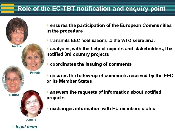 Role of the EC-TBT notification and enquiry point § ensures the participation of the