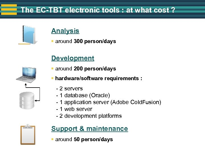 The EC-TBT electronic tools : at what cost ? Analysis § around 300 person/days