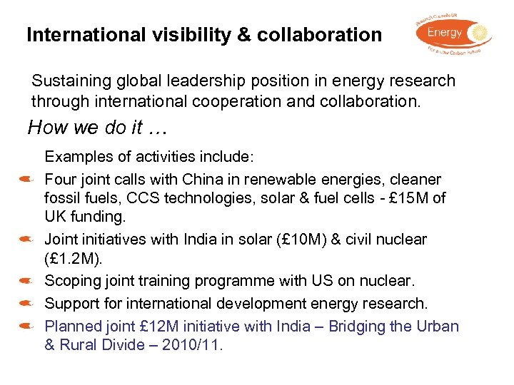 International visibility & collaboration Sustaining global leadership position in energy research through international cooperation