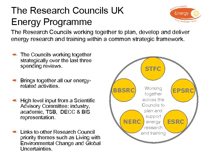 The Research Councils UK Energy Programme The Research Councils working together to plan, develop