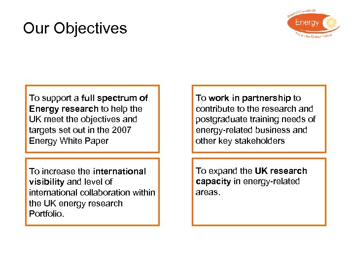 Our Objectives To support a full spectrum of Energy research to help the UK