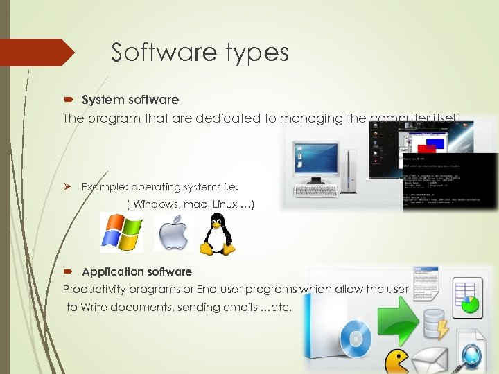 Software types System software The program that are dedicated to managing the computer itself.